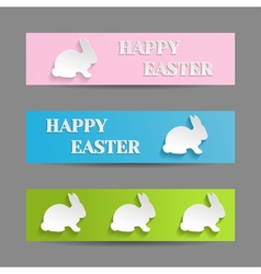 Easter banners set with rabbit bunny vector