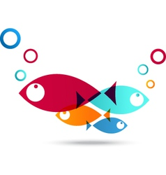 Fish icon abstract background vector