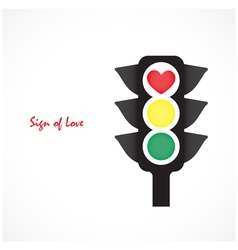 Traffic light icon with red heart sign vector