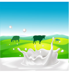 Design with cow milk splash and landscape vector