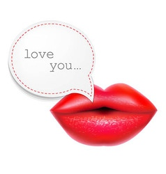 Red lips with speech bubble vector