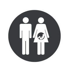 Monochrome round young family icon vector