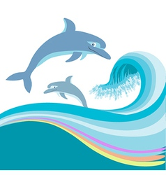 Dolphins jumping waves vector