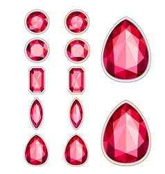 Set of five forms of ruby cut and two kinds of fra vector