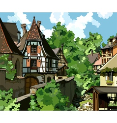 European village vector