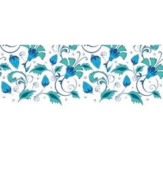 Blue green swirly flowers horizontal border vector