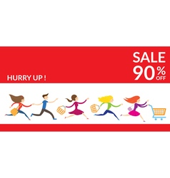 Women hurry run to sale vector