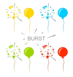Set colorful popped balloons isolated vector