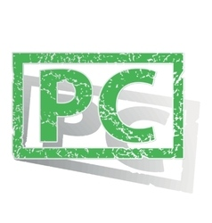 Green outlined pc stamp vector