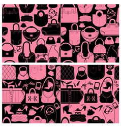 Set of seamless patterns with woman bags and handb vector
