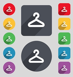 Hanger icon sign a set of 12 colored buttons and a vector