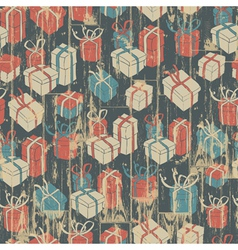 Seamless christmas grunge background with gift vector