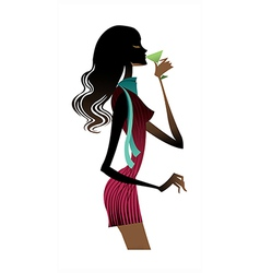 Cocktail woman standing vector
