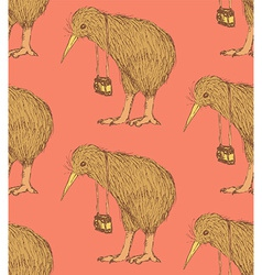 Sketch fancy kiwi bird in vintage style vector