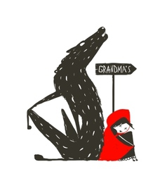 Little red riding hood and scary wolf vector