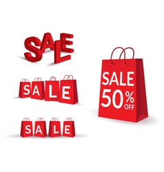 Sale text bag vector