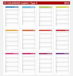 Calendar 2014 english type 5 vector