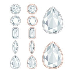 Five forms of diamond cut and two kinds of frames vector