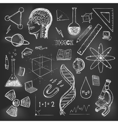 Sciences doodles icons set school return vector