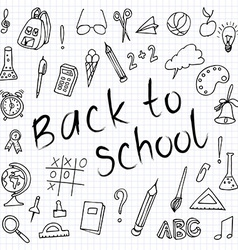 Hand drawn back to school doodles paper background vector