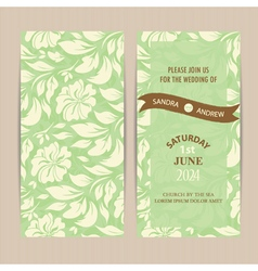 Invitation card floral green vector