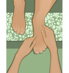 French pedicure and foot massage vector