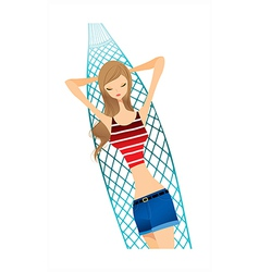 Hammock vacation woman vector