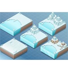 Isometric arctic terrain with iceberg and mount vector