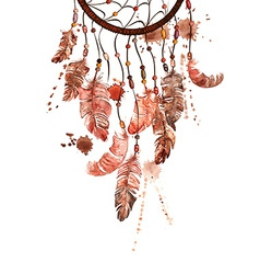Watercolor with dreamcatcher vector