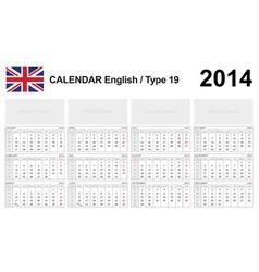 Calendar 2014 english type 19 vector