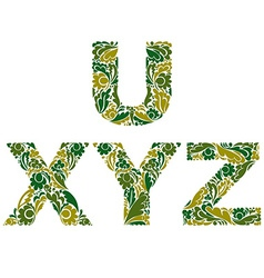 Letters decorated with seasonal leaves u x y z vector
