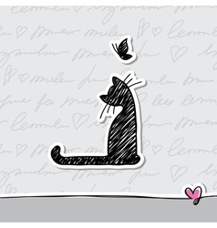 Card with cat vector