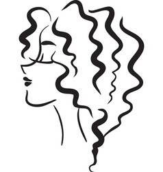Profile woman with wavy hair vector
