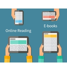 Online reading and e-book mobile devices vector