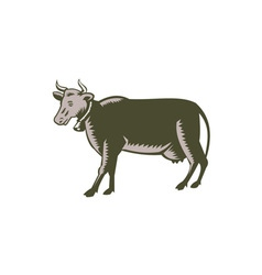 Dairy cow side view woodcut vector