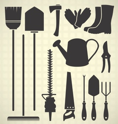 Gardening tool silhouette collection vector