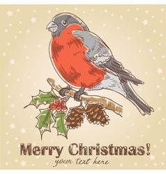 Christmas hand drawn ink card vector