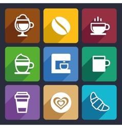Coffee flat icons set 44 vector