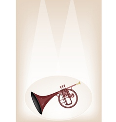 A musical straight mellophone on stage background vector
