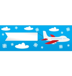 Airplane with banners in the sky vector