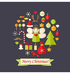 Christmas card with flat icons set and angel dark vector