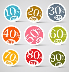 Colorful circle sale tags vector
