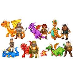 Vikings and dragons vector
