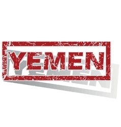 Yemen outlined stamp vector