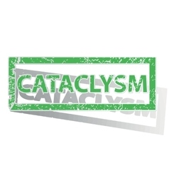 Green outlined cataclysm stamp vector