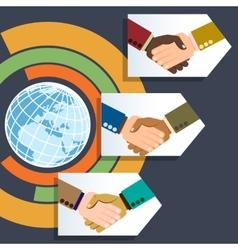 Worldwide multiethnic business handshakes vector
