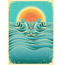 Vintage nature seascape background with sunlight vector