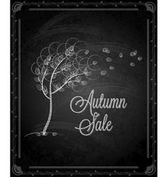Chalkboard autumn tree vector