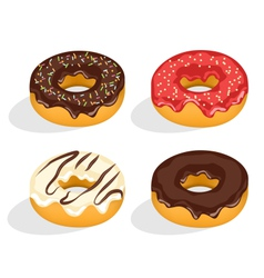 Four donuts with glazed isolated on white vector
