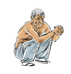 Hand drawn old man on white background grey-haired vector